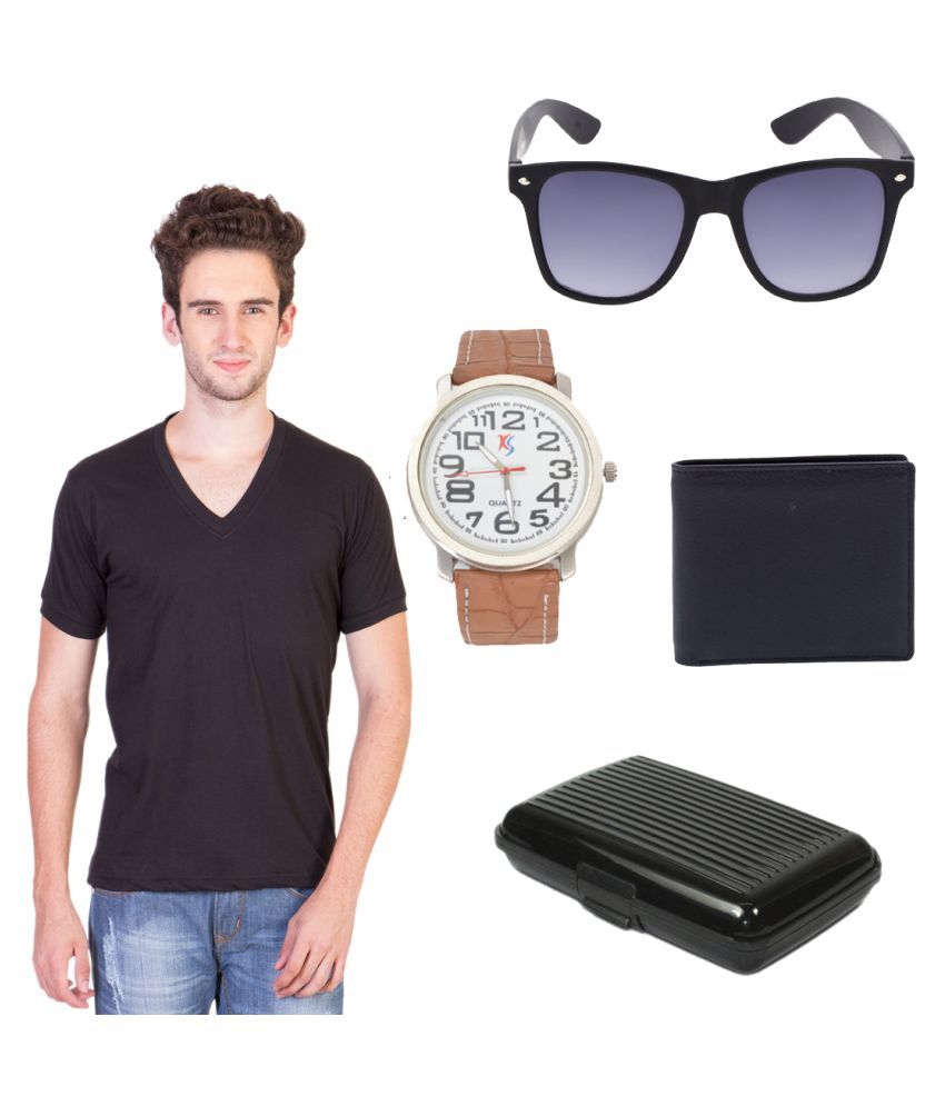 Keepsake Brown V-Neck T-Shirt with Wallet, Belt, Watch and Sunglasses