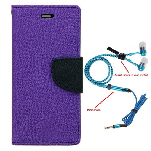 Aart Wallet Flip Case Back Cover For Samsung 7562-(Purple) + Zipper Hands free for all Mobiles By Aart store