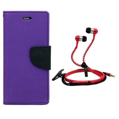Aart Wallet Flip Case Back Cover For micromax Q345-(Purple) + Zipper Hands free for all Mobiles By Aart store