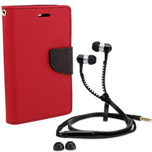 Aart Wallet Flip Case Back Cover For Apple I phone 6-(Red) + Zipper Hands free for all Mobiles By Aart store
