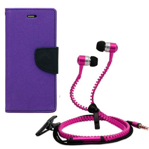 Aart Wallet Flip Case Back Cover For micromax A120-(Purple) + Zipper Hands free for all Mobiles By Aart store