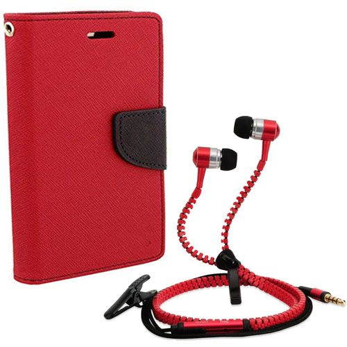 Aart Wallet Flip Case Back Cover For micromax A120-(Red) + Zipper Hands free for all Mobiles By Aart store