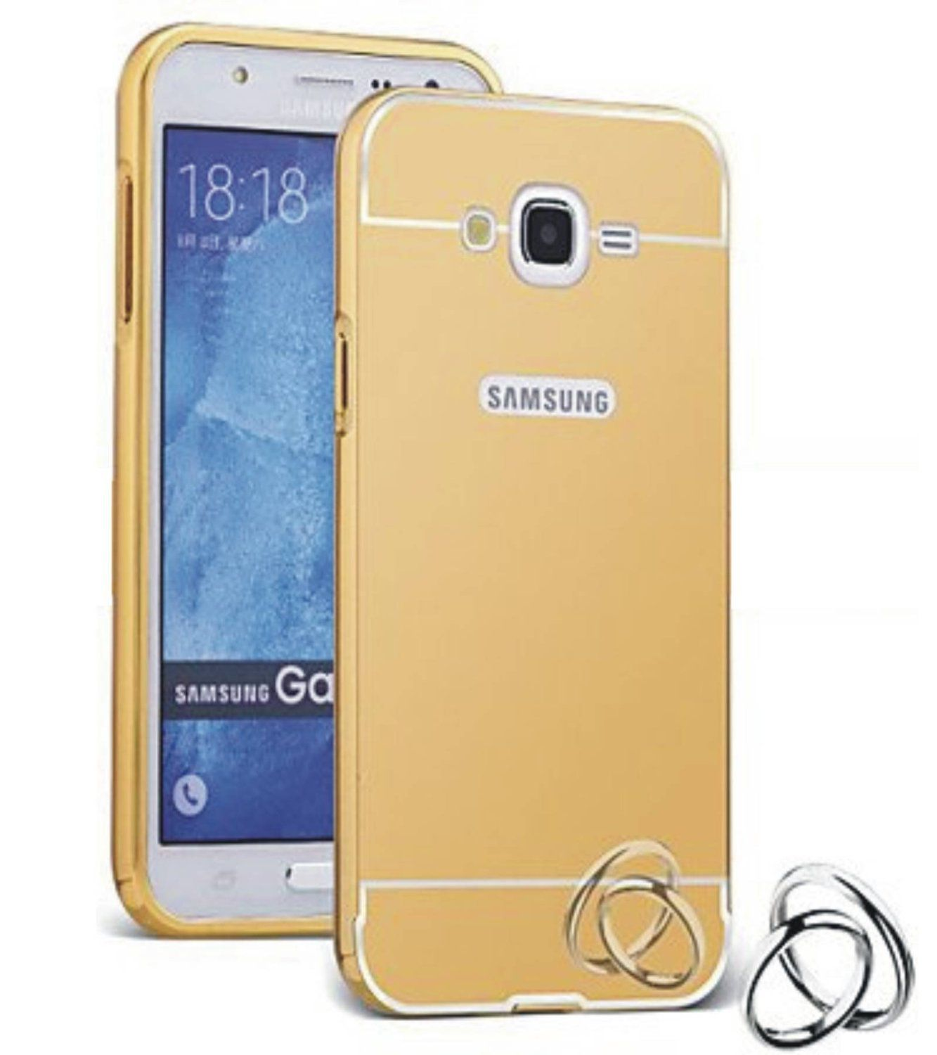 Aart Luxury Metal Bumper + Acrylic Mirror Back Cover Case For Samsung  J2  Gold + Flexible Portable Thumb OK Stand