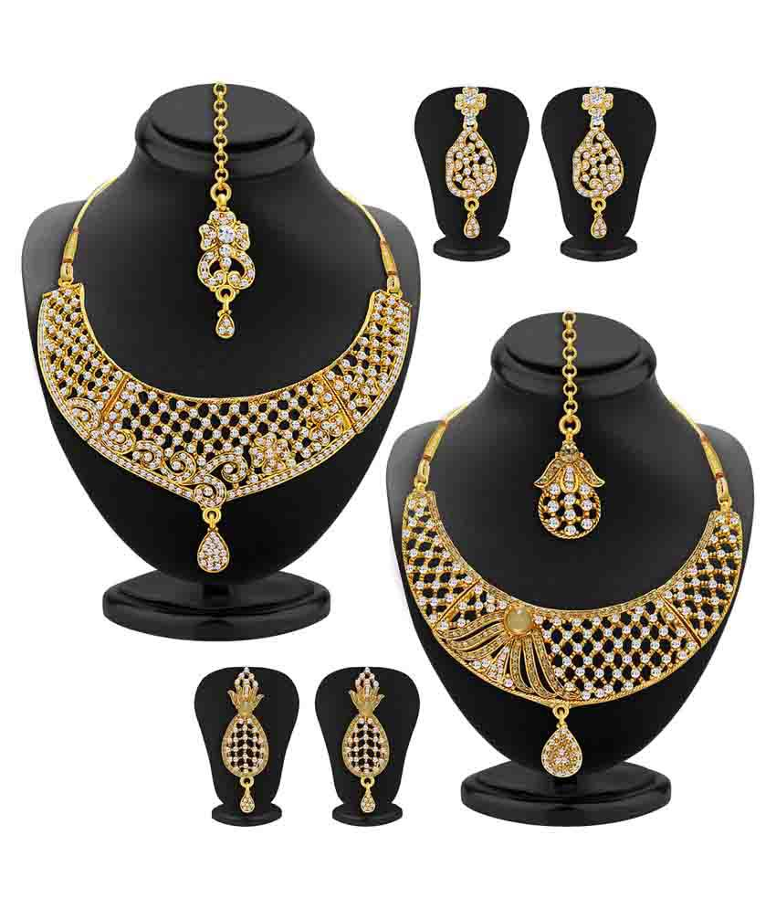 Sukkhi Golden Necklace Set - Set of 2