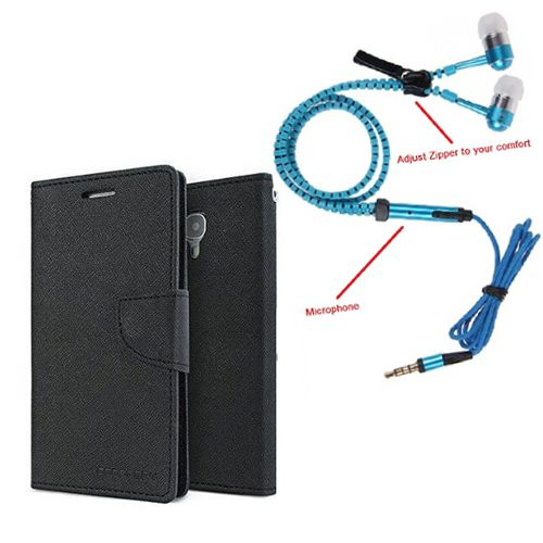 Wallet Flip Case Back Cover For Lenovo A2010-(Black) + Zipper Hands free for all Mobiles By StyleCrome store