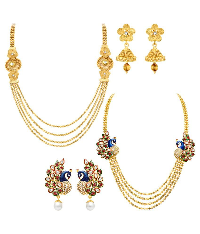 set traditional necklace product earrings indian gold jewelry temple plated collection