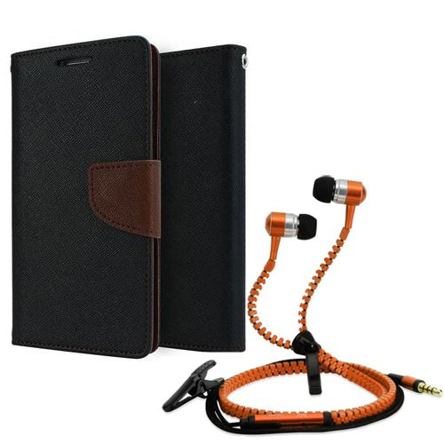 Wallet Flip Case Back Cover For Lenovo A6000-(Black brown) + Zipper Hands free for all Mobiles By StyleCrome store