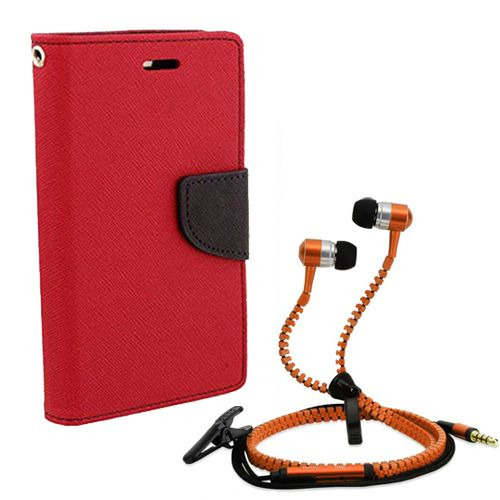 Wallet Flip Case Back Cover For Redmi Note-(Red) + Zipper Hands free for all Mobiles By StyleCrome store
