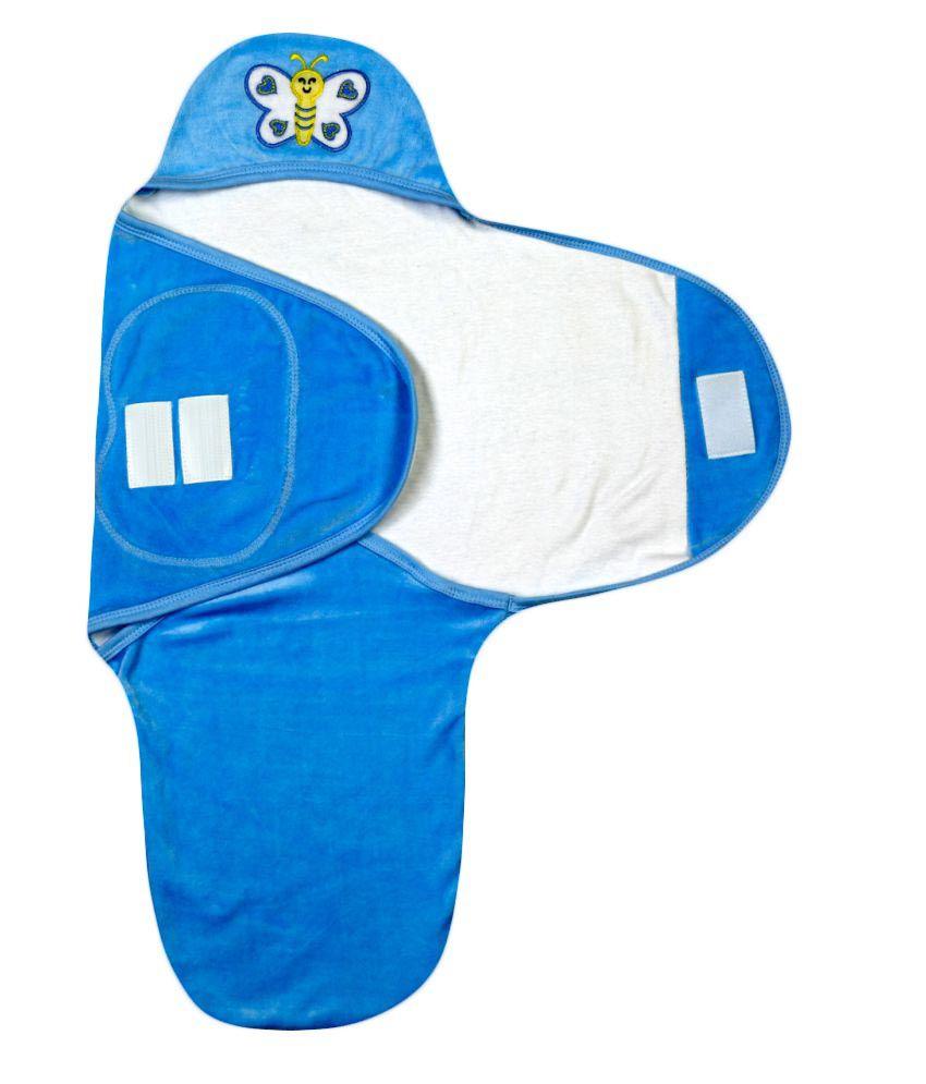 Brim Hugs & Cuddles Blue Baby Wrapper Baby Blanket/Baby Swaddle/Baby Sleeping Bag