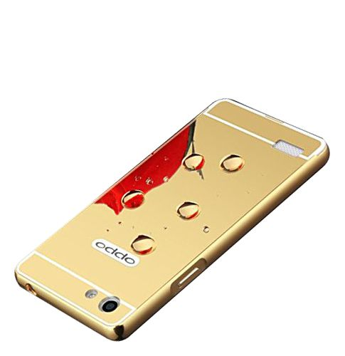 Aart Luxury Metal Bumper + Acrylic Mirror Back Cover Case For OppoNeo7  Gold + Flexible Portable Thumb OK Stand