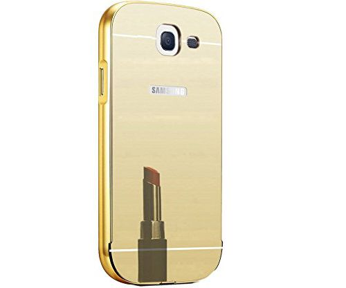 Aart Luxury Metal Bumper + Acrylic Mirror Back Cover Case For Samsung A710 Gold + Flexible Portable Thumb OK Stand