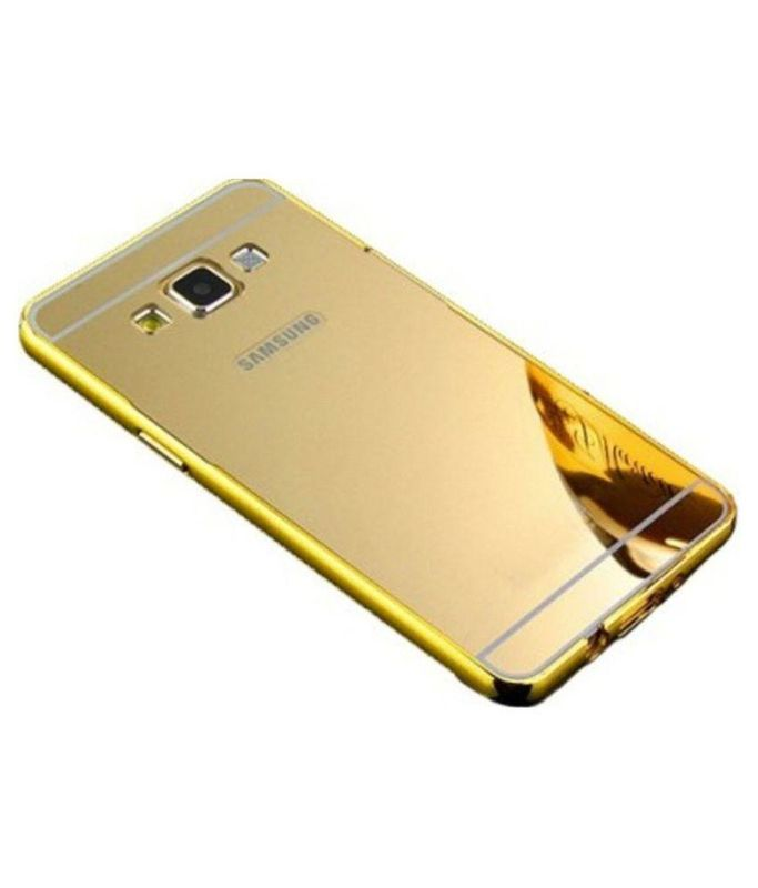 Aart Luxury Metal Bumper + Acrylic Mirror Back Cover Case For Samsung S5 Gold + Flexible Portable Thumb OK Stand