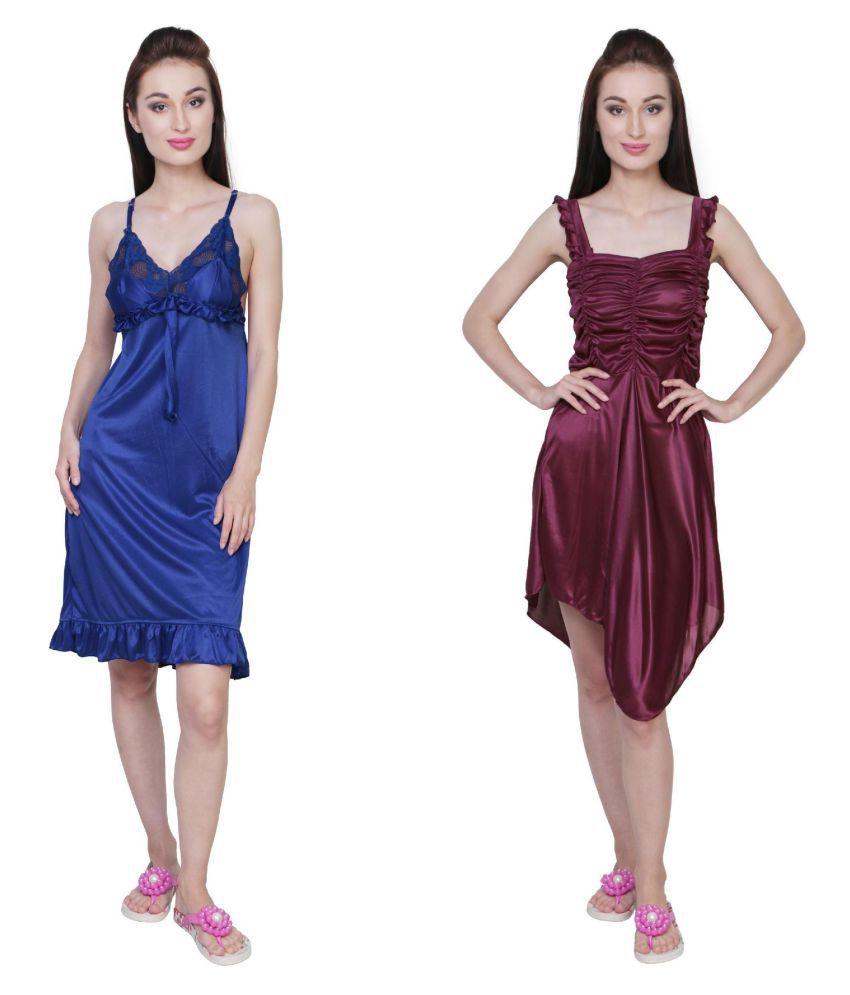 Simrit Multi Color Satin Nighty & Night Gowns