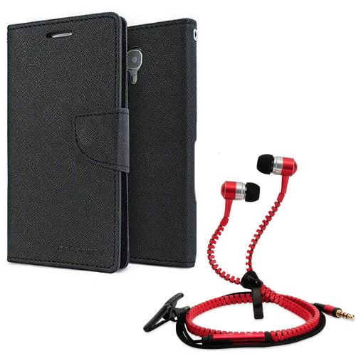 Wallet Flip Case Back Cover For micromax Q372-(Black) + Zipper Hands free for all Mobiles By StyleCrome store