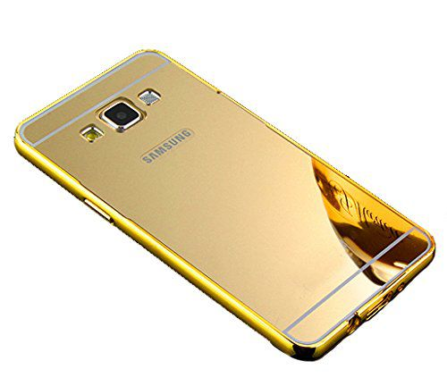Style Crome Metal Bumper + Acrylic Mirror Back Cover Case For Samsung J7 Gold + Flexible Portable Thumb OK Stand