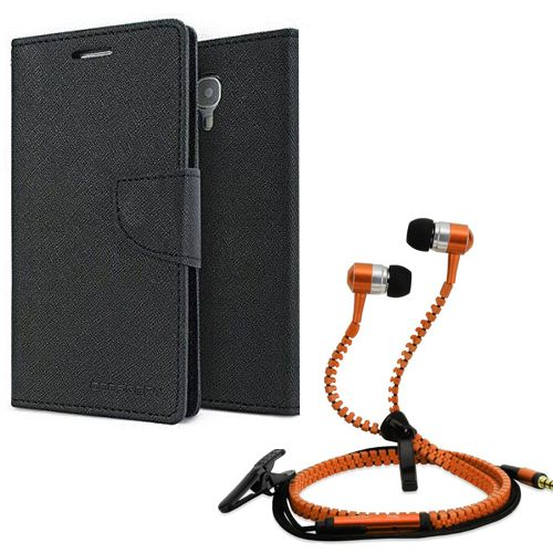 Wallet Flip Case Back Cover For micromax A110-(Black) + Zipper Hands free for all Mobiles By StyleCrome store
