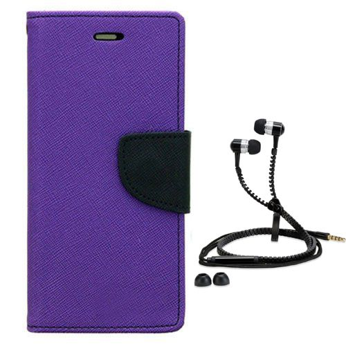 Wallet Flip Case Back Cover For micromax A116-(Purple) + Zipper Hands free for all Mobiles By StyleCrome store