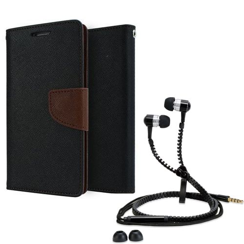Wallet Flip Case Back Cover For micromax Q345-(Black brown) + Zipper Hands free for all Mobiles By StyleCrome store