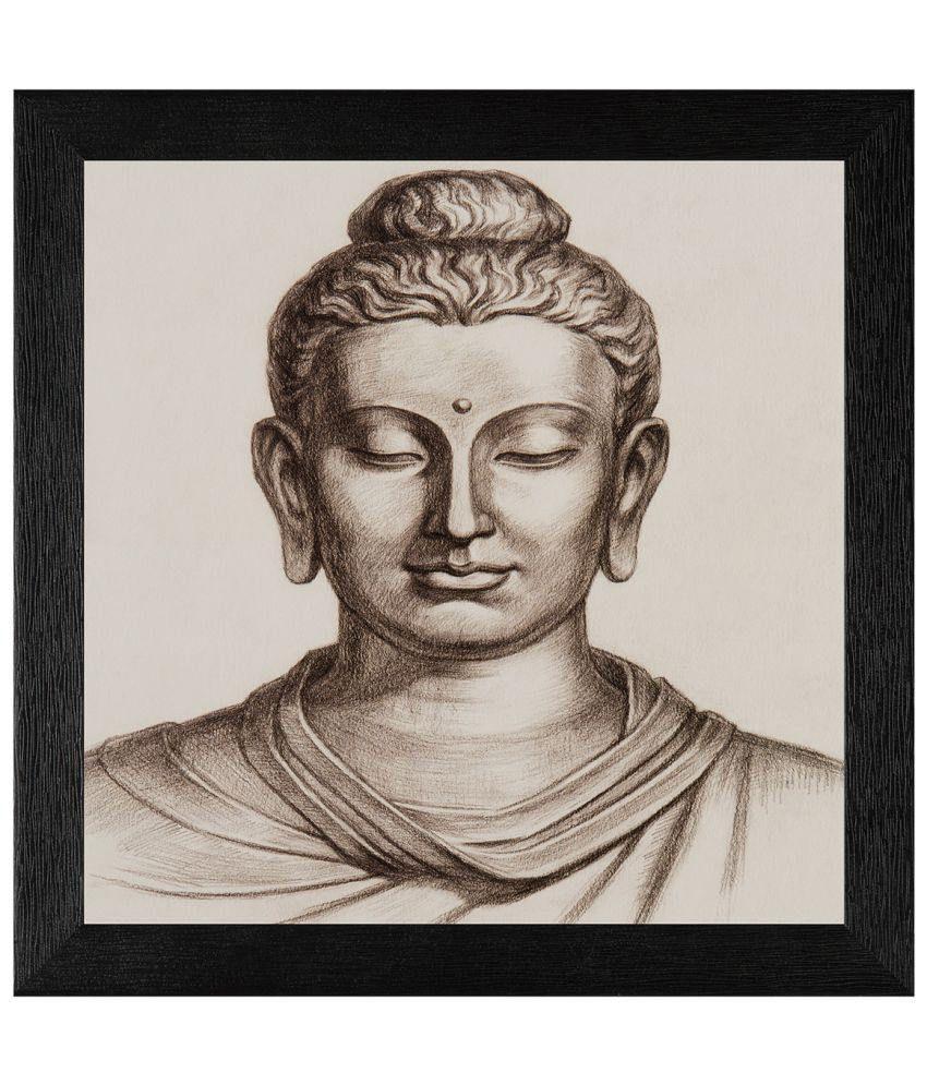 JAF Religious Lord Buddha Wood Art Prints With Frame Single Piece