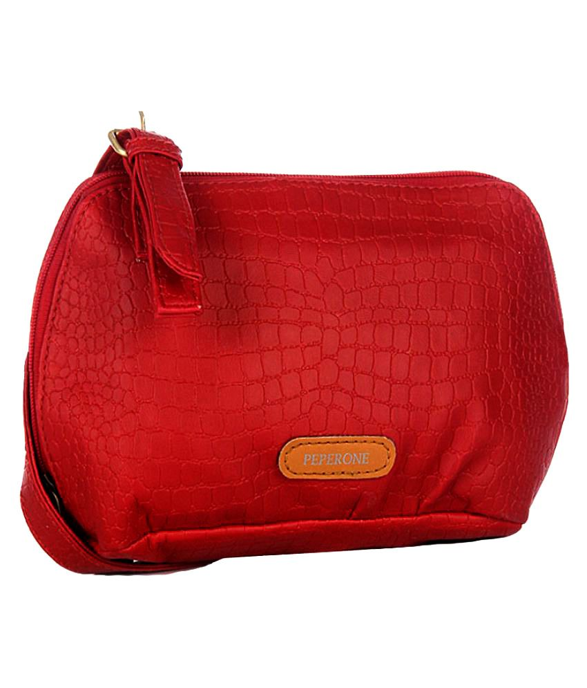 Peperone Red Faux Leather Sling Bag