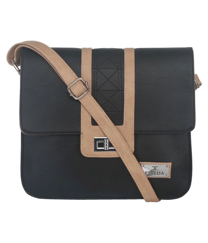 Esbeda Black Faux Leather Sling Bag