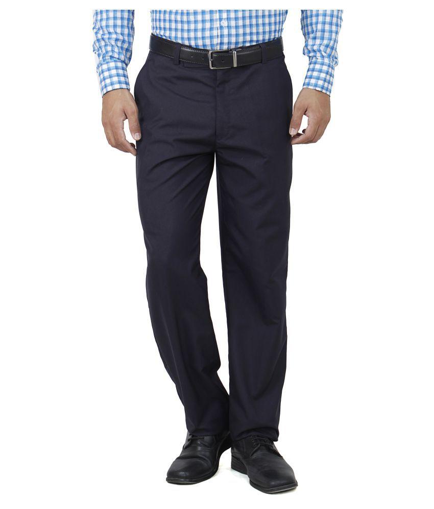 Franklineplus Navy Blue Regular Flat Trouser