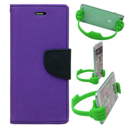 Wallet Flip Case Back Cover For Samsung J2-(Purple) + Flexible Portable Thumb Ok Stand Holder By Style Crome store