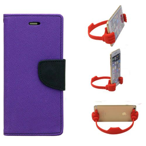 Wallet Flip Case Back Cover For Samsung S6 Edge-(Purple) + Flexible Portable Thumb Ok Stand Holder By Style Crome store