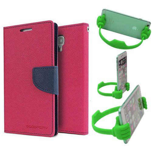 Wallet Flip Case Back Cover For Nokia 520-(Pink) + Flexible Portable Thumb Ok Stand Holder By Style Crome store