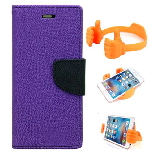 Wallet Flip Case Back Cover For Lenovo A2010-(Purple) + Flexible Portable Thumb Ok Stand Holder By Style Crome store