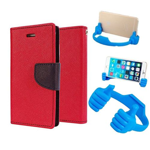 Wallet Flip Case Back Cover For Micromax A117-(Red) + Flexible Portable Thumb Ok Stand Holder By Style Crome store