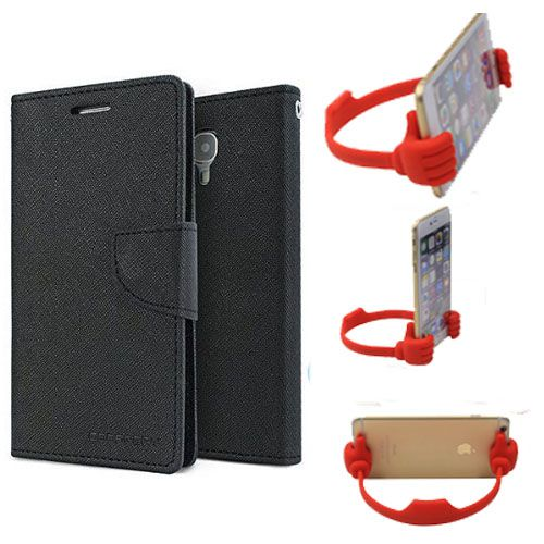 Wallet Flip Case Back Cover For Micromax A310 -(Black) + Flexible Portable Thumb Ok Stand Holder By Style Crome store