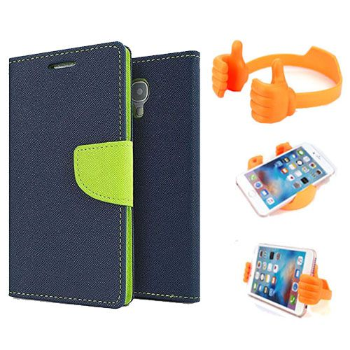 Wallet Flip Case Back Cover For Sony Xperia E4-(Blue) + Flexible Portable Thumb Ok Stand Holder By Style Crome store