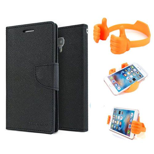 Wallet Flip Case Back Cover For HTC626 -(Black) + Flexible Portable Thumb Ok Stand Holder By Style Crome store