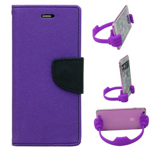 Wallet Flip Case Back Cover For Apple Iphone 5-(Purple) + Flexible Portable Thumb Ok Stand Holder By Style Crome store