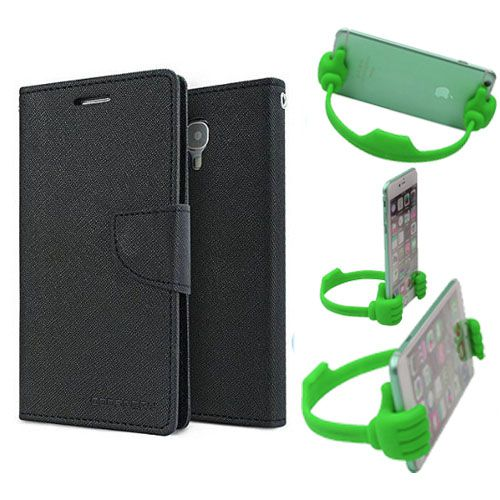 Wallet Flip Case Back Cover For Sony Xperia T2 Ultra -(Black) + Flexible Portable Thumb Ok Stand Holder By Style Crome store