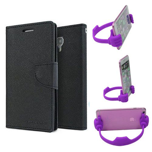 Wallet Flip Case Back Cover For Samsung G850 -(Black) + Flexible Portable Thumb Ok Stand Holder By Style Crome store