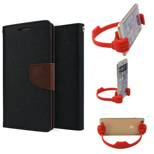 Wallet Flip Case Back Cover For Samsung S6-(Blackbrown) + Flexible Portable Thumb Ok Stand Holder By Style Crome store