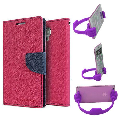 Wallet Flip Case Back Cover For Sony Xperia M4-(Pink) + Flexible Portable Thumb Ok Stand Holder By Style Crome store
