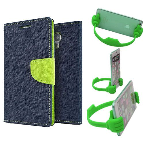 Wallet Flip Case Back Cover For Asus Zenfone C-(Blue) + Flexible Portable Thumb Ok Stand Holder By Style Crome store