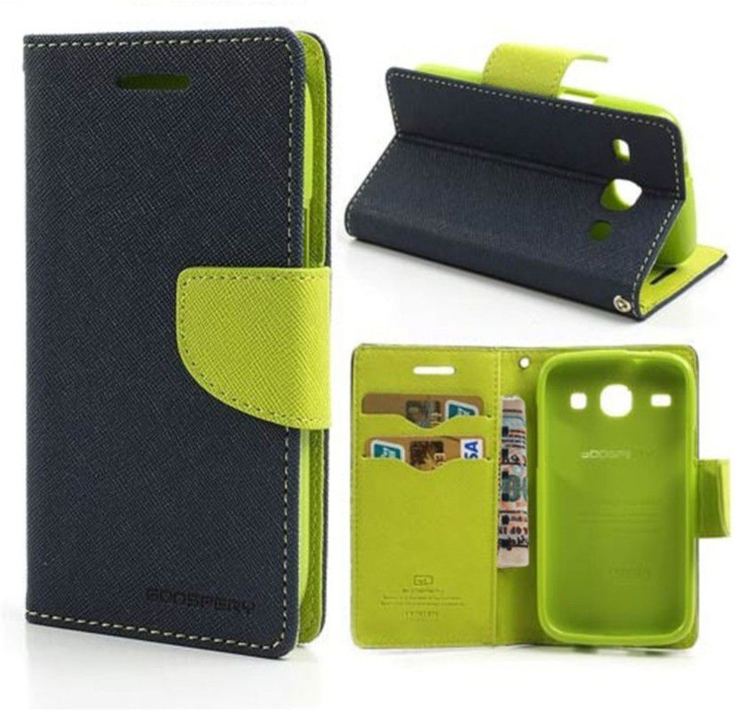 Wallet Flip Case Back Cover For Micromax A120-(Blue) + Flexible Portable Thumb Ok Stand Holder By Style Crome store