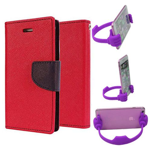 Wallet Flip Case Back Cover For Motorola Moto X3-(Red) + Flexible Portable Thumb Ok Stand Holder By Style Crome store