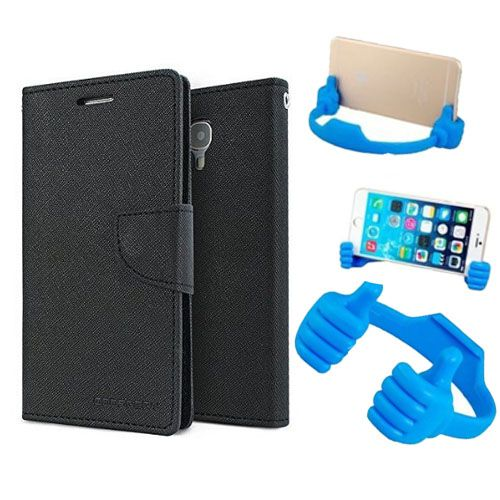 Wallet Flip Case Back Cover For Micromax A120 -(Black) + Flexible Portable Thumb Ok Stand Holder By Style Crome store