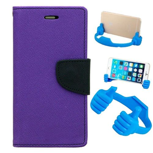 Wallet Flip Case Back Cover For Samsung G350-(Purple) + Flexible Portable Thumb Ok Stand Holder By Style Crome store