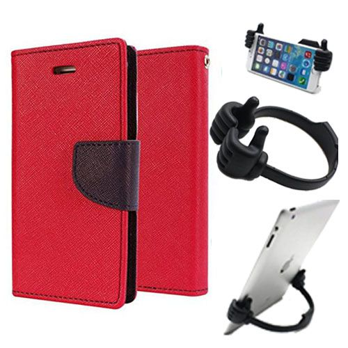 Wallet Flip Case Back Cover For One Plus Two-(Red) + Flexible Portable Thumb Ok Stand Holder By Style Crome store