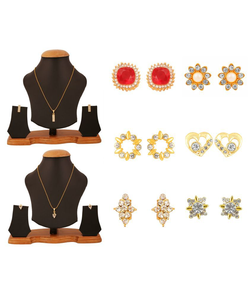Touchstone Multicolour 2 Necklace set with 6 Pair of Earrings