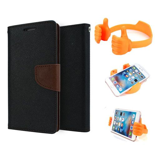 Wallet Flip Case Back Cover For Samsung Note 3-(Blackbrown) + Flexible Portable Thumb Ok Stand Holder By Style Crome store