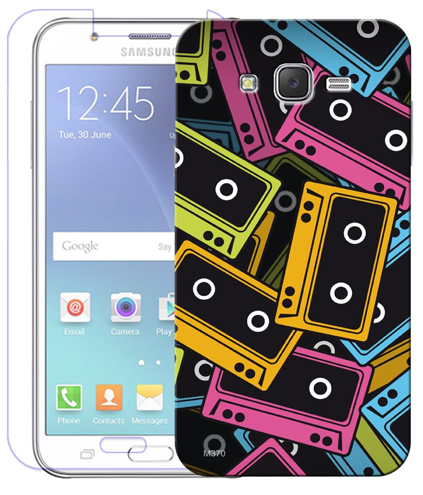 Finest Combo of Audio Cassete HD UV Printed Mobile Back Cover and Tempered Glass Screen Guard For Samsung Galaxy J7