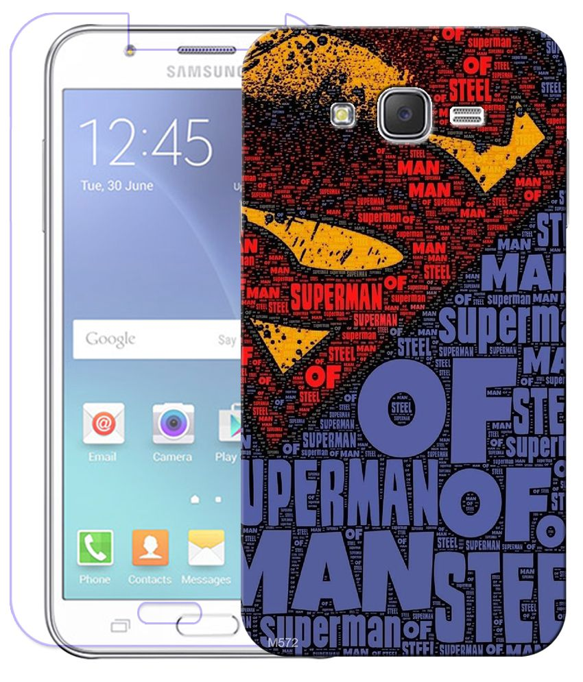 Finest Combo of Super Hero HD UV Printed Mobile Back Cover and Tempered Glass Screen Guard For Samsung Galaxy J7