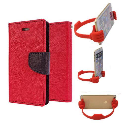 Wallet Flip Case Back Cover For Sony Xperia E4-(Red) + Flexible Portable Thumb Ok Stand Holder By Style Crome store